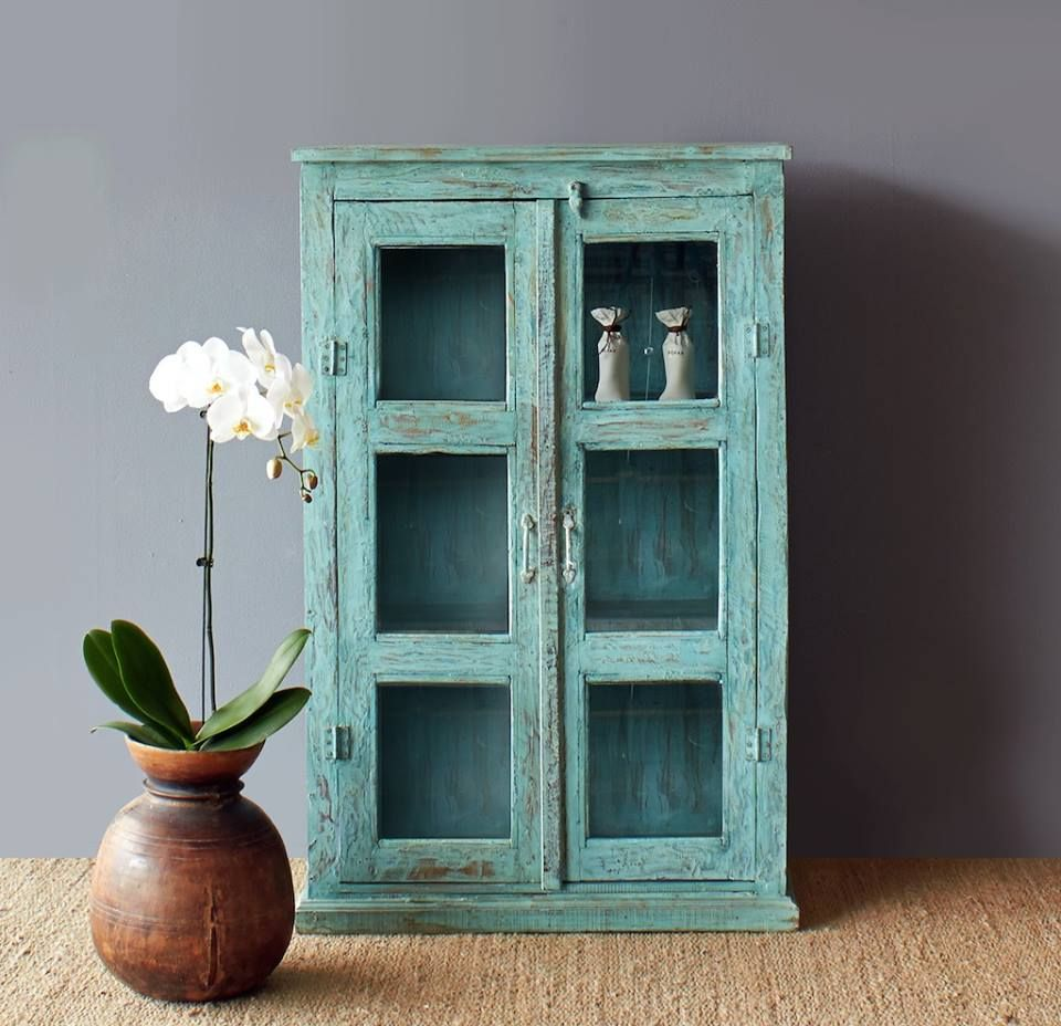 Originals Furniture - Rustic Turquoise India Cabinet with glass ...