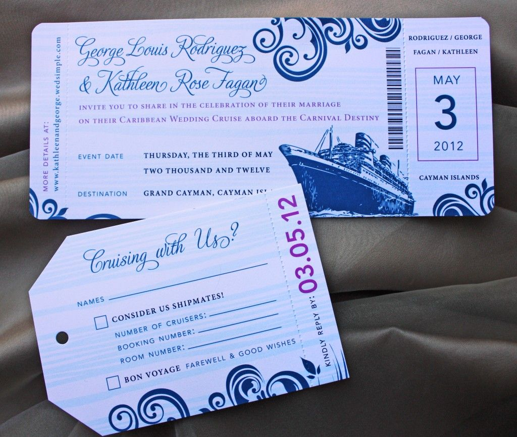 cruise wedding save the date announcement%0A Blue Swirl with Fuchsia Accents Cruise Boarding Pass Wedding Invitations  and Luggage Tag RSVPs