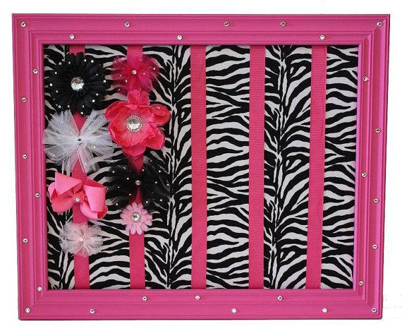 Hot Pink And Zebra Bow Holder For Baby Presley
