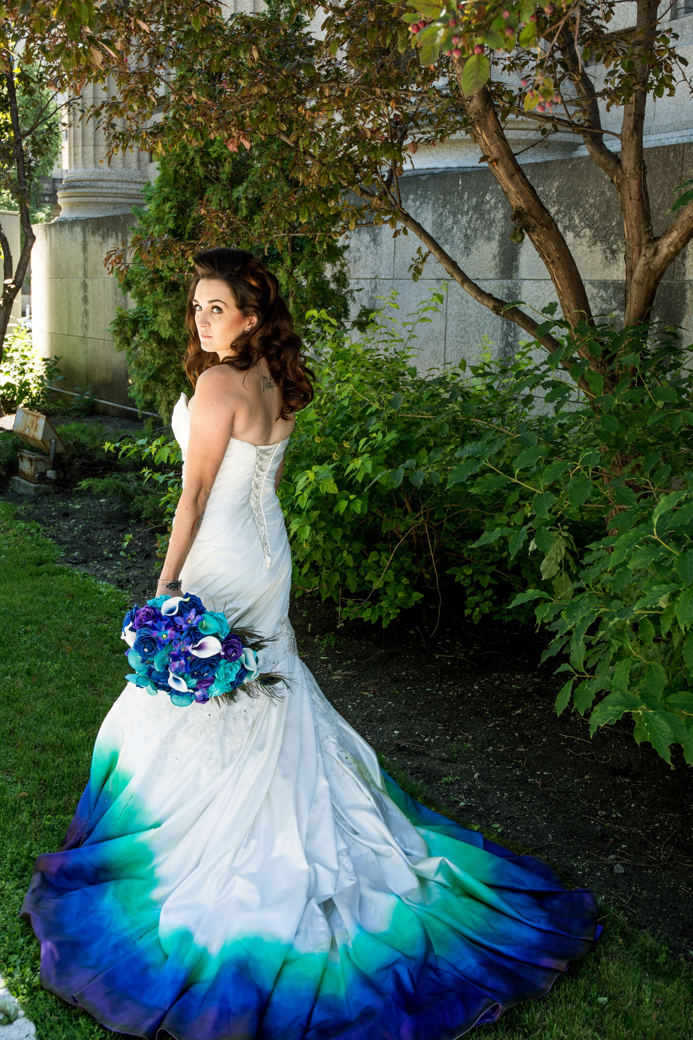 Airbrushed Pea Ombre Wedding Dress