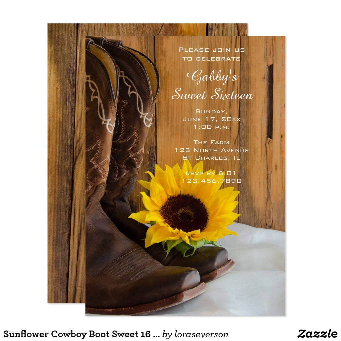 Sunflower Cowboy Boot Sweet 16 Barn Birthday Party Card | Sweet ...