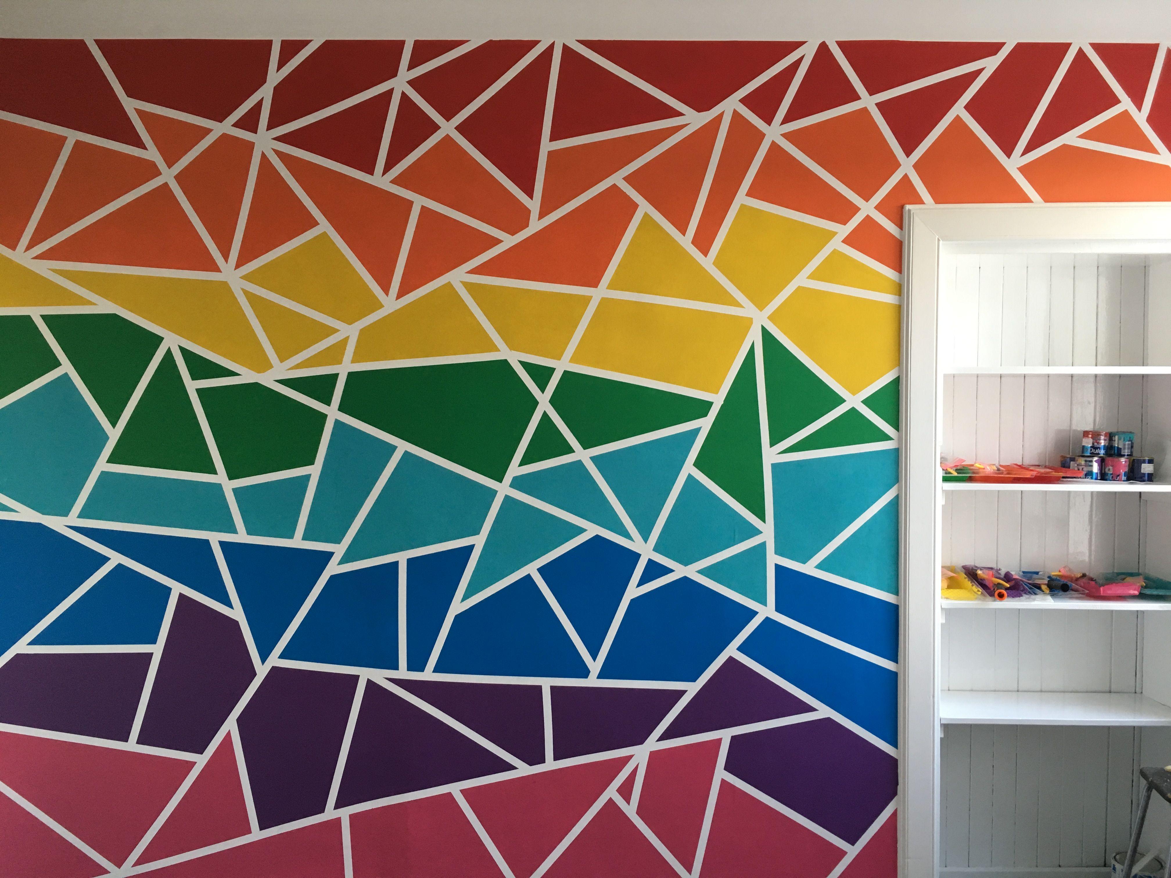 Rainbow Geometric Wall Kids Room Wall Art Wall Paint Designs
