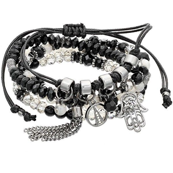 Hamsa & Tassel Charm Beaded Bracelet Set (115 SEK) ❤ liked on Polyvore featuring jewelry, bracelets, black, tassel bracelet set, beaded bangles, tassel jewelry, metal jewelry and cord bracelet
