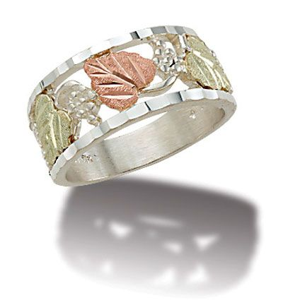 K1 Sterling Silver Ladies Band With Black Hills Gold Leaves