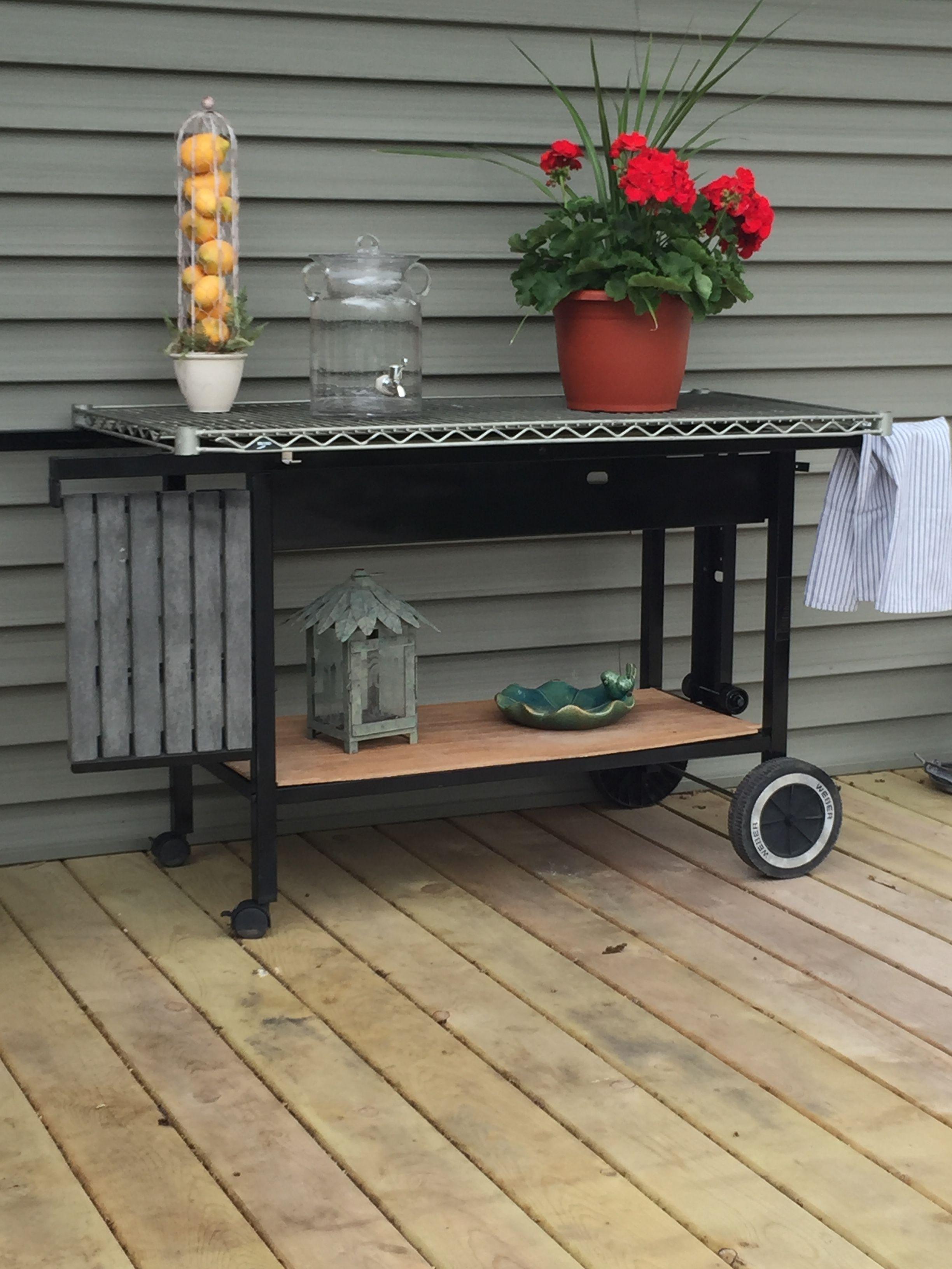 Transformed My Old Gas Grill Into This Great Multipurpose Deck Cart Diy Patio Repurposed Items Repurposed