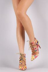 Bamboo Watercolor Pointy Toe Lace-Up Pump
