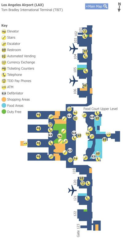 Los Angeles Lax Tbit Terminal Map Airport Map Los Angeles Airport Airport Guide