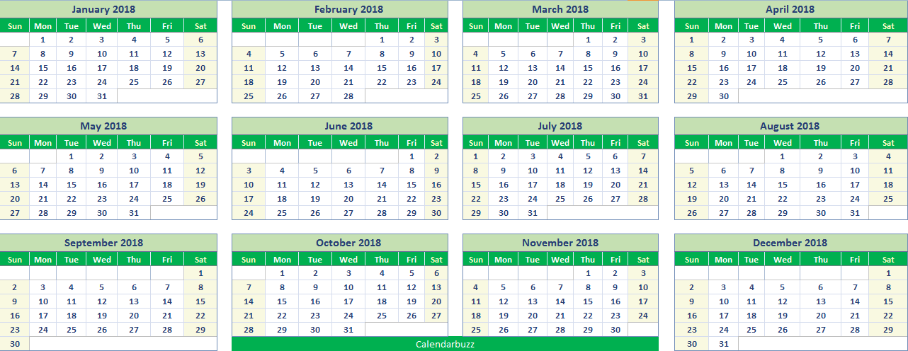 photograph regarding Printable Columns and Rows called Excel 2018 calendar printable templates within .xlxs spreadsheet
