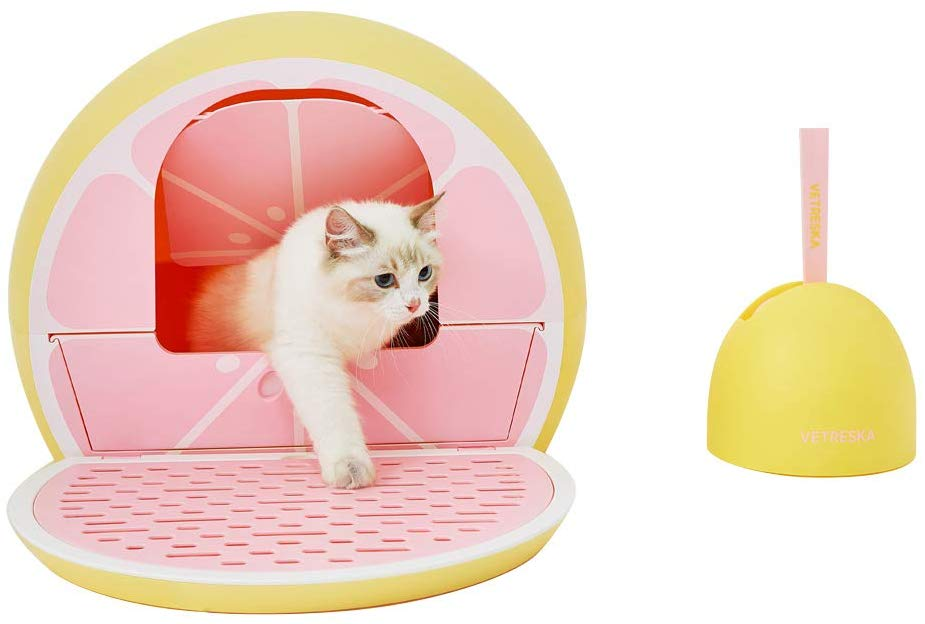 Amazon Com Vetreska Cat Litter Box With Lid Fruity Kitty Kove With Scoop Set Lime Pet Supplies In 2020 Cat Litter Box Furniture Cat Litter Box Litter Box Furniture