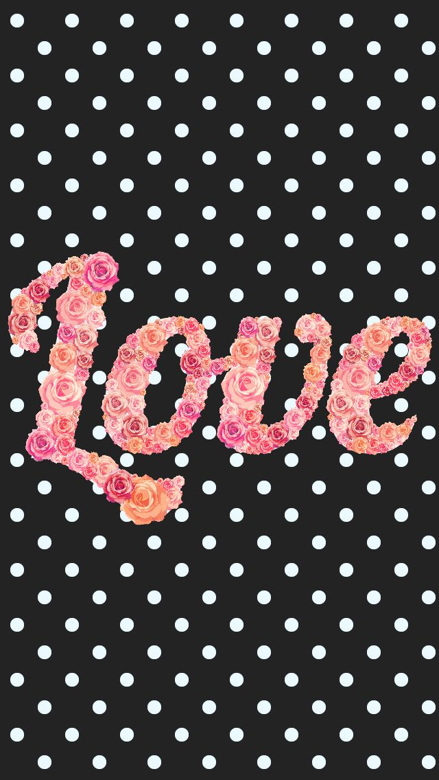 True Love Iphone Wallpaper : Black white pink floral roses love polka dots iphone phone background lock screen wallpaper ...