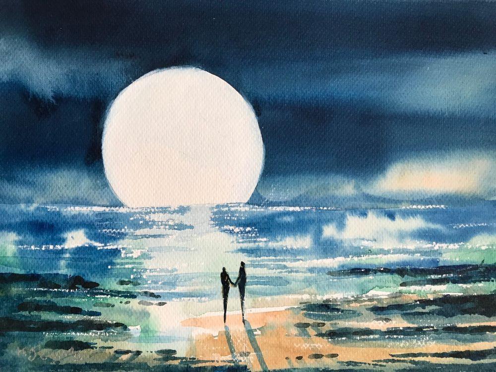 Watercolor Painting Romantic Moonlight Ocean Walk In Love Holding