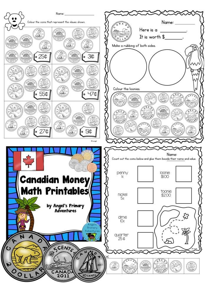 Set Of 30 Printable Worksheets Working With Canadian Money To A Dollar Fun Pirate Theme Canadian Money Learning Money Third Grade Math Worksheets