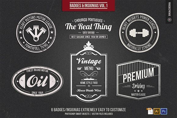 Badges and Insignia's Vol.1 by BMACHINA Labs. on @creativemarket