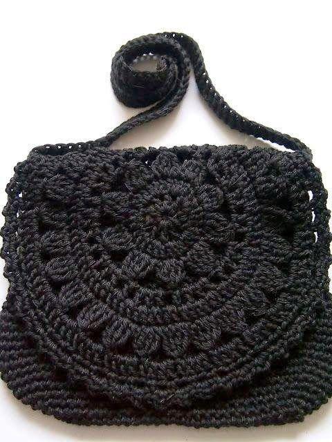 bolsa preta pequena | Bolsa de crochê | Pinterest | Tasche häkeln ...