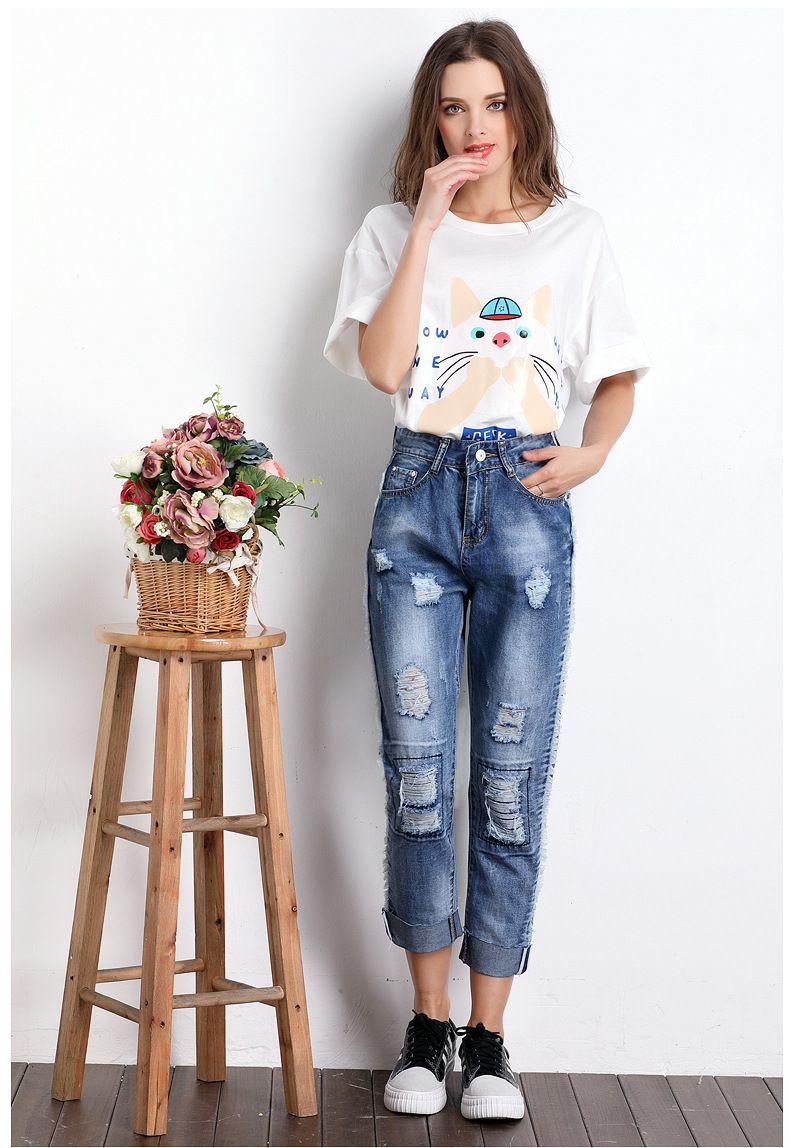 3a9fa4cee fashion popular mid waist Tassels jeans trousers straight ankle length pants  hole Korea style loose casual