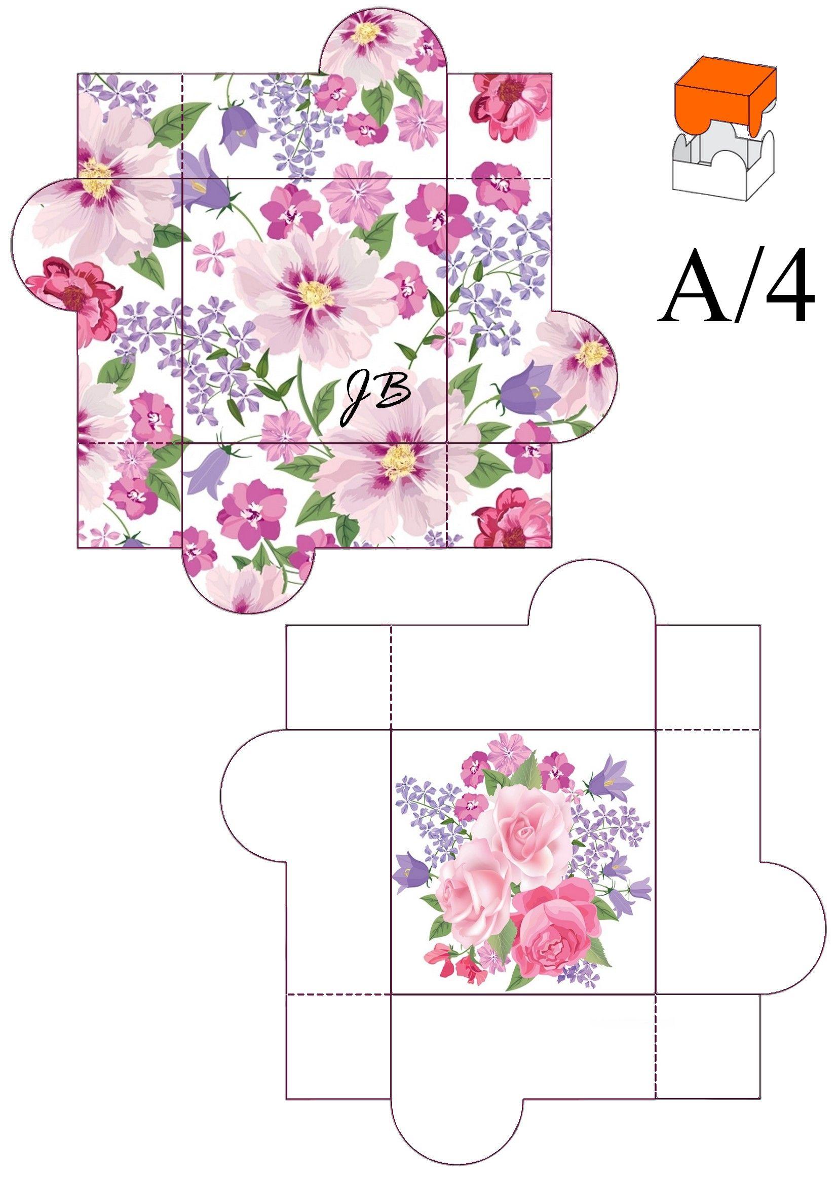 Схема коробочки для открытки