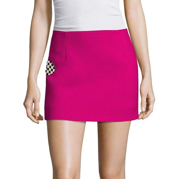 Marc Jacobs Wool Mini Skirt (56,750 INR) ❤ liked on Polyvore featuring skirts, mini skirts, apparel & accessories, pink wool skirt, short mini skirts, embellished mini skirt, pull on skirts and long skirts