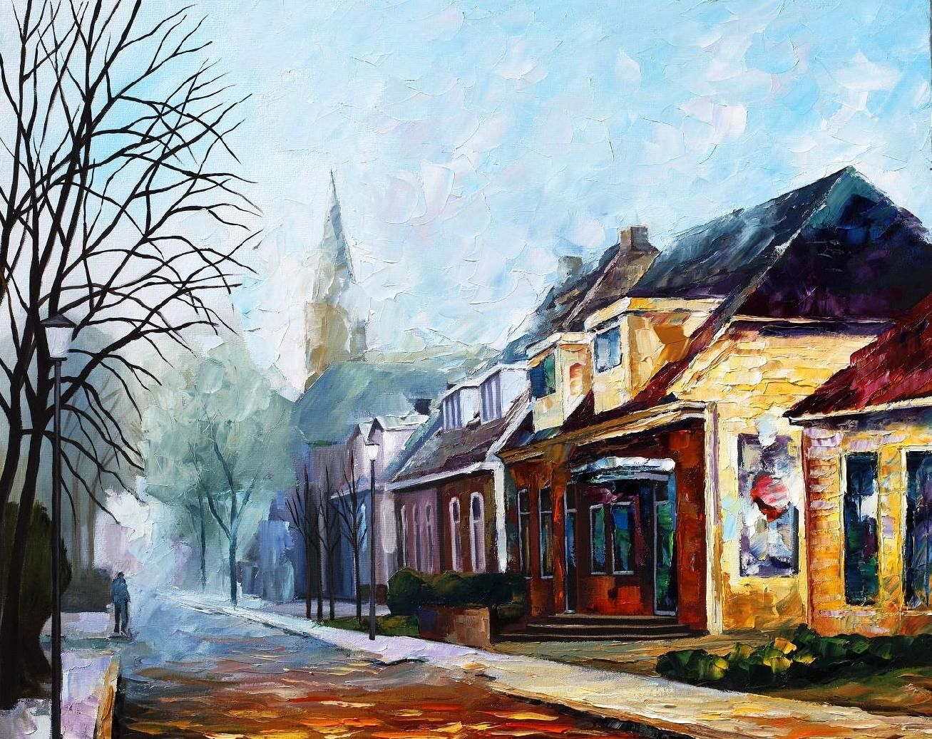 House Palette Knife Oil Painting On Canvas By Leonid Afremov Http