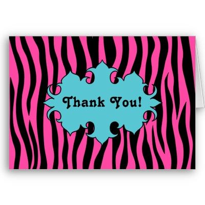 Hot pink zebra print with blue banner thank you cards