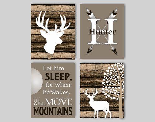 Baby Boy Nursery Art Rustic Deer Bedding Decor Woodland Let Him Sleep
