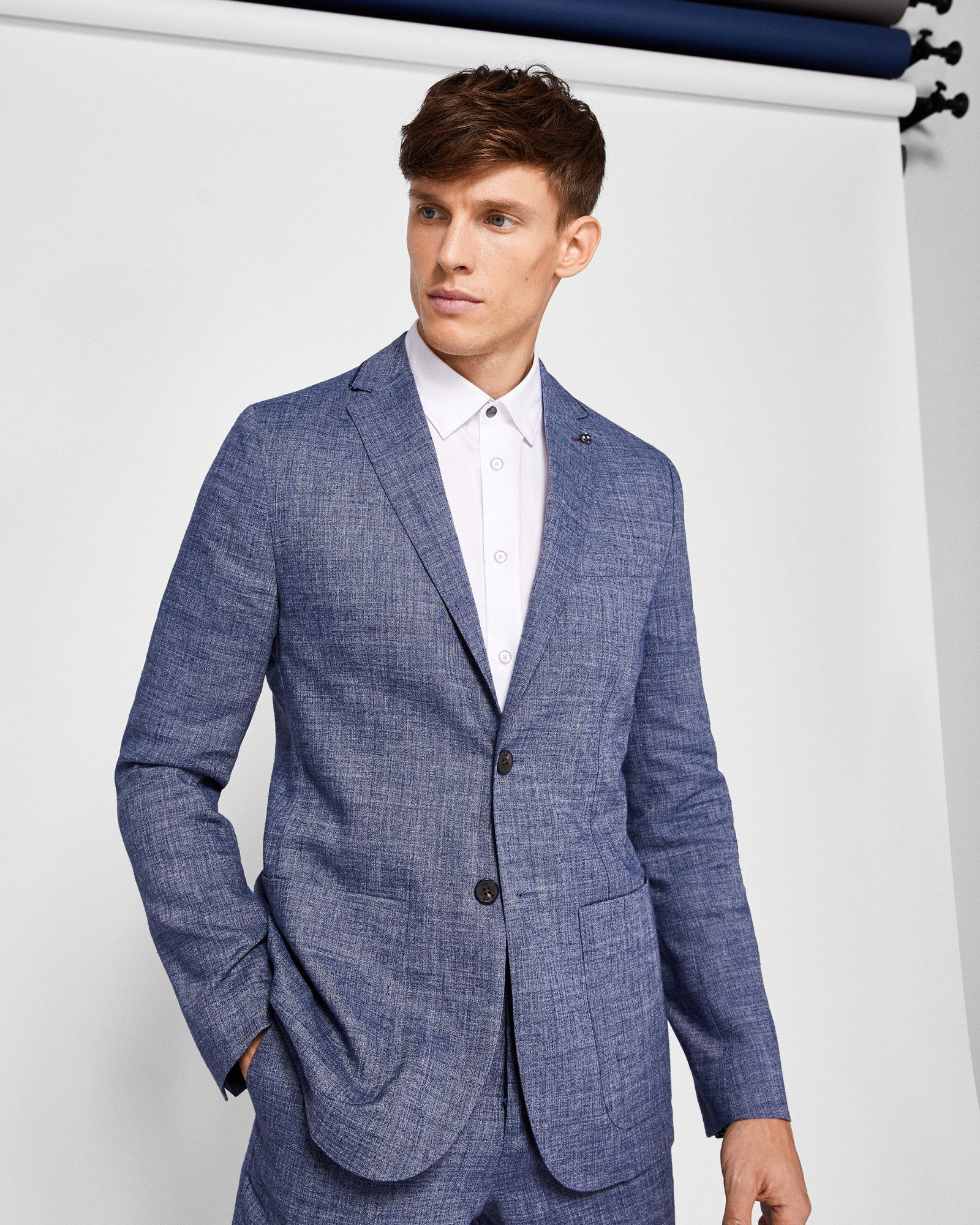 18fe18e8d23e1 Ted Baker Cross hatch linen blazer Blue