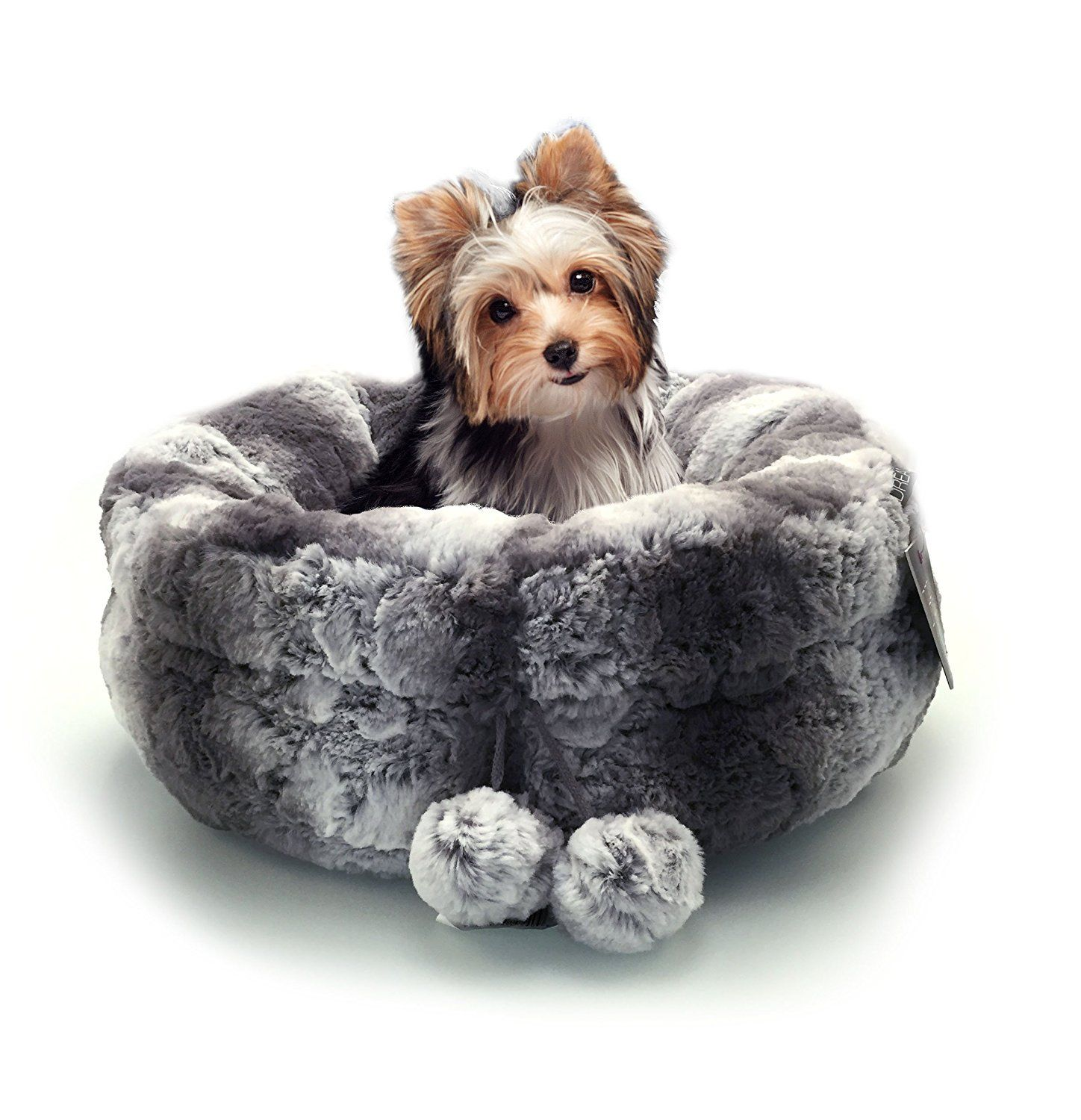 Precious Tails Gray Round Pet Bed Cuddler With Micro Mink Velour Exterior And Pom Poms 20 Insider S Special Review You Can T Dog Pet Beds Dog Bed Pet Bed