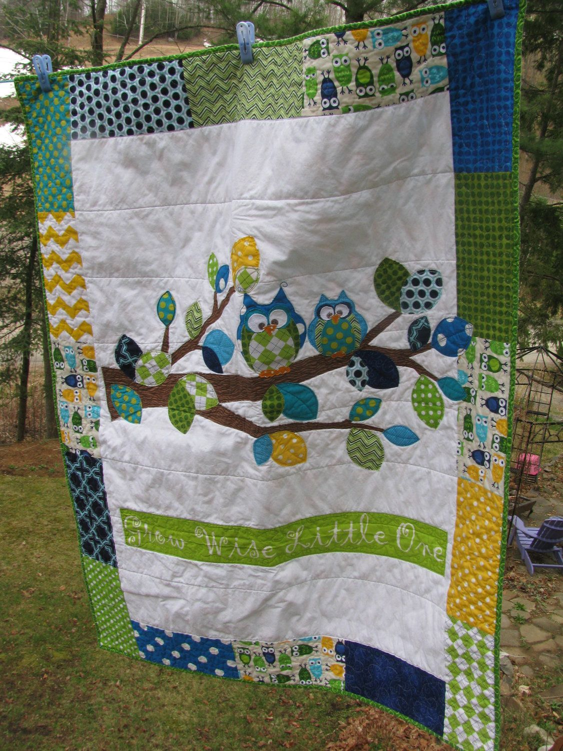 Applique Owl baby quilt of flannel & cotton in Turquoise, Royal Blue ...