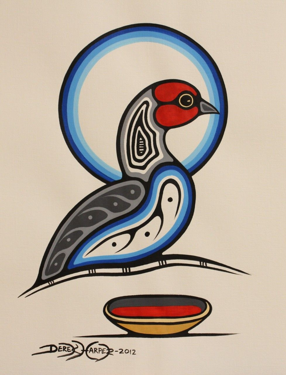Red Headed Bird with Bowl Kitigan Artist Derek Harper Native