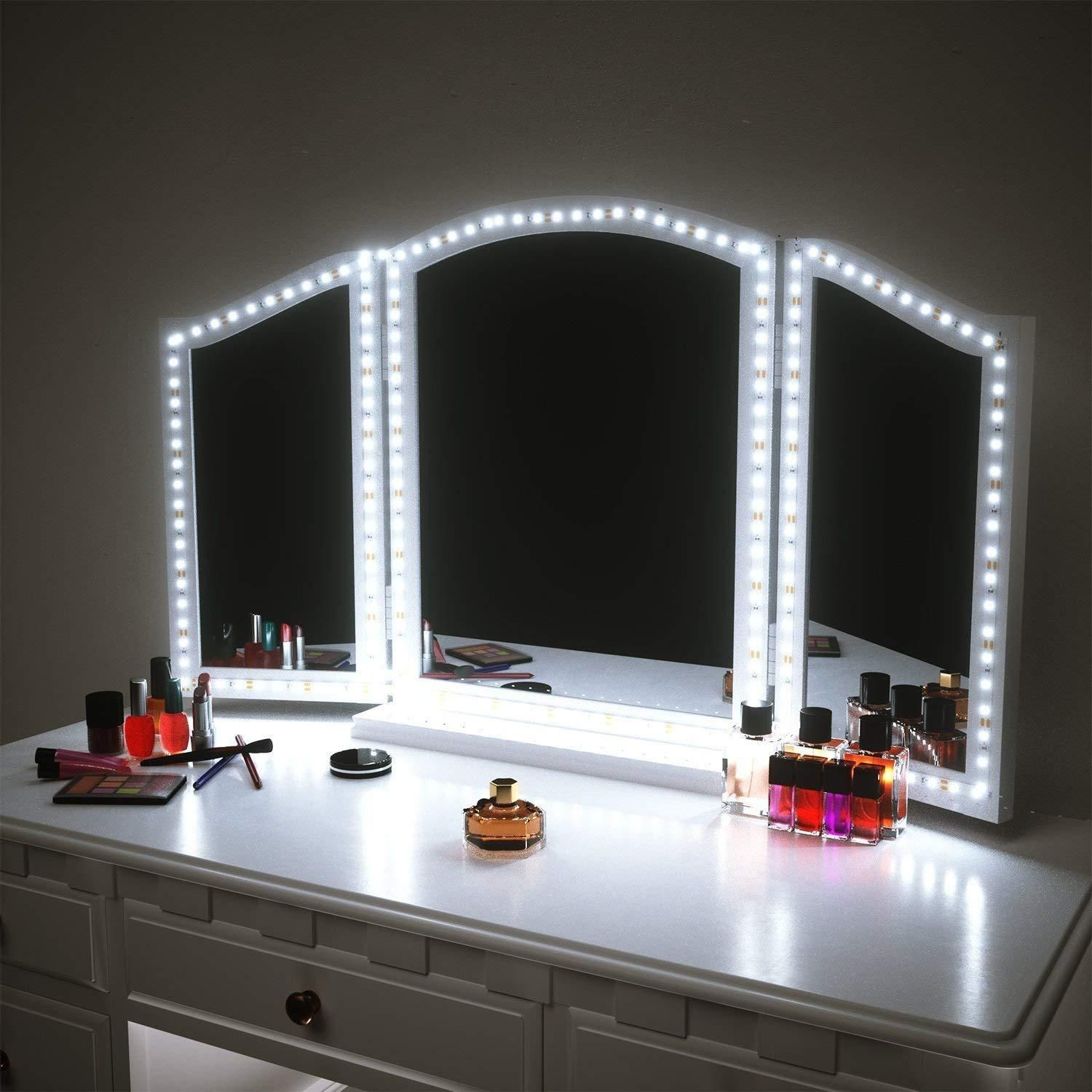 2019 Vanity Mirror Lights Kit For Makeup Dressing Table Set 13ft Flexible Led Strip 6000k Daylight White With Dimmer And Power Supply Diy Vanity Mirror Diy Mirror With Lights Lighted Vanity Mirror