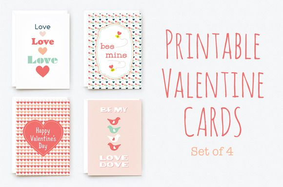 Printable Valentine Cards  A Set Of  Printable ValentineS Day
