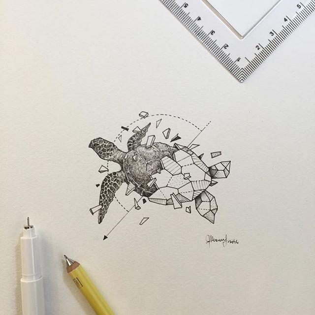 Tortue dessin animaux pinterest tortue tatouages et dessin - Tatouage geometrique animaux ...