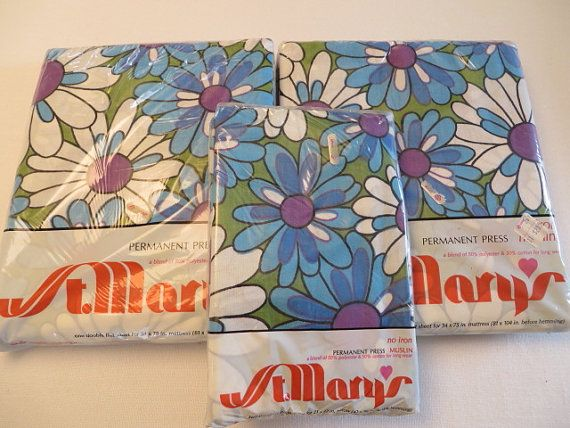 maryu0027s no iron muslin mod blue purple daisy flower power full bed sheets and pillow cases