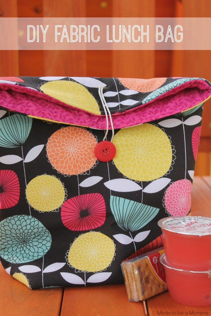 Diy Fabric Lunch Bag - great beginning sewing project for kids ...
