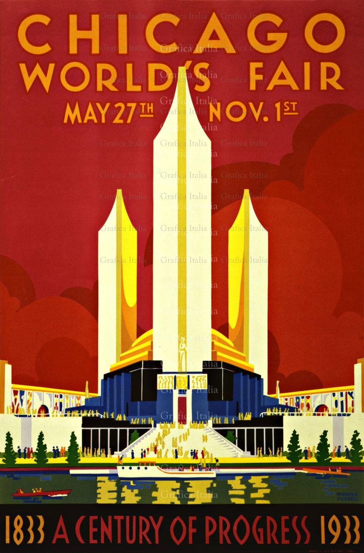 Vintage Chicago World Fair TRAVEL Print, Wall Decor Prints, Home ...