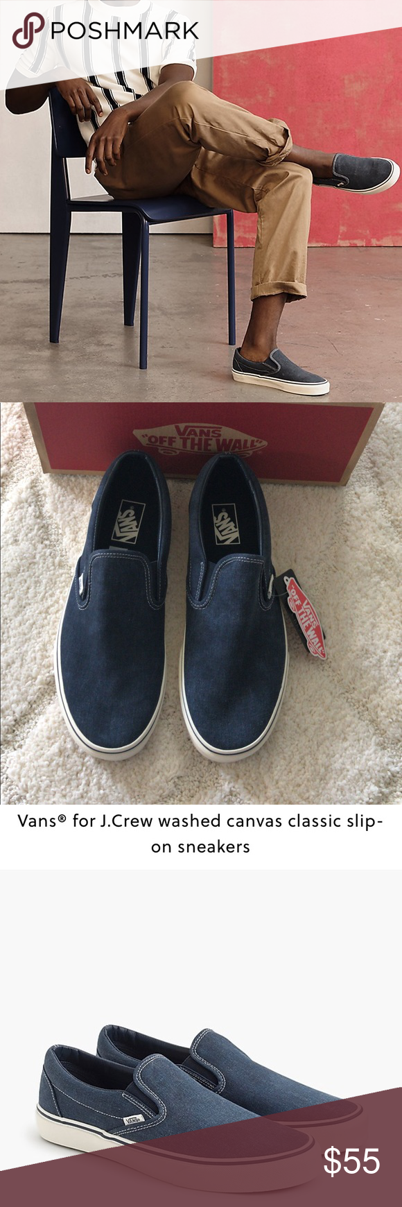 5a3df2c05 Vans® for J.Crew canvas classic slip-on sneakers Vans® for J.Crew washed  canvas classic slip-on sneakers Color: BLUEBERRY Founded by Paul Van Doren  in 1966, ...