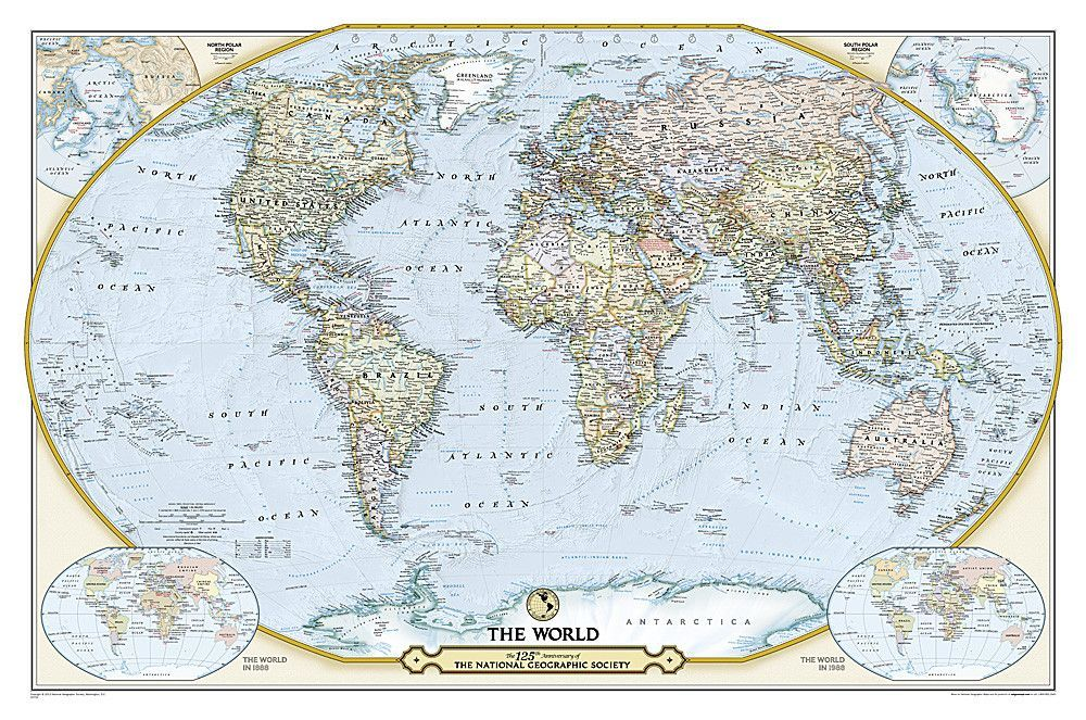 125th anniversary world map laminated by national geographic maps buy map anniversary world map laminated by national geographic yellowmaps map store gumiabroncs Choice Image
