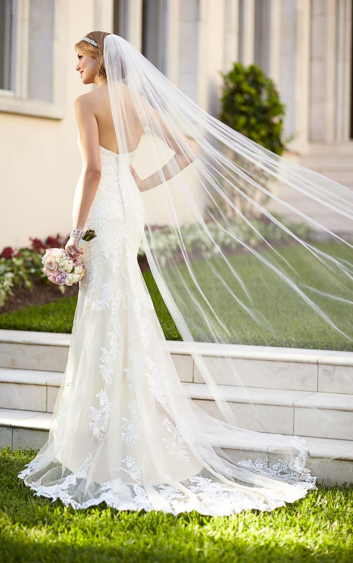 This Lace Over Matte Side Lavish Satin Wedding Gown From Stella York Features Hand Sewn Embellishments On Liques The Strapless Sweetheart Neckline