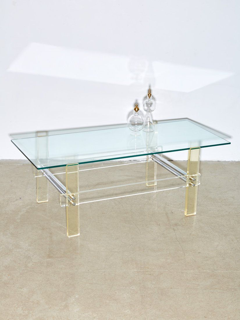 Lucite And Glass Coffee Table Con Imagenes