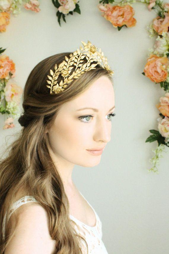 Unique Gold Leaf and Pearl Tiara Gold Crown Wedding Hair Accessories Gold Bridesmaids Tiara Gold Prom Tiaras Gold Bride Tiara