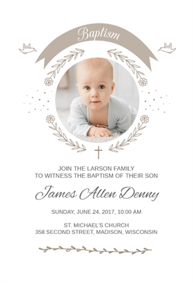 ribbon cameo free printable baptism christening invitation
