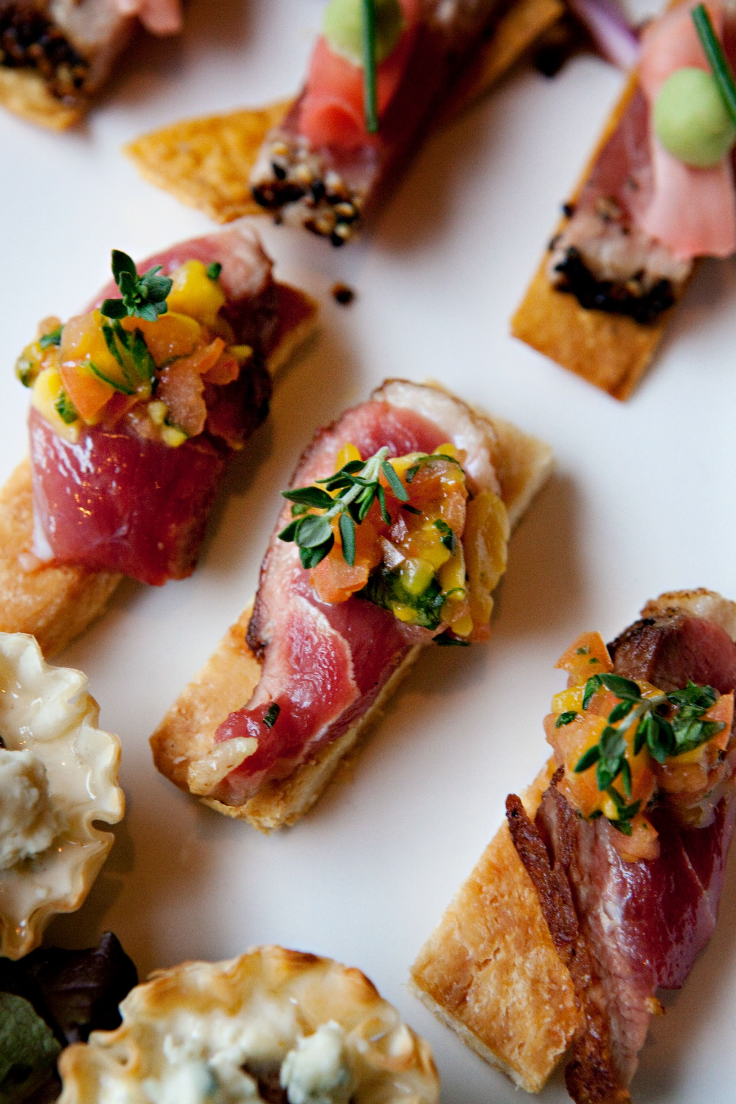Puff Pastry With Sliced Smoked Duck And Mango Salsa Cocktail Hour Hors D Oeuvres Weddings