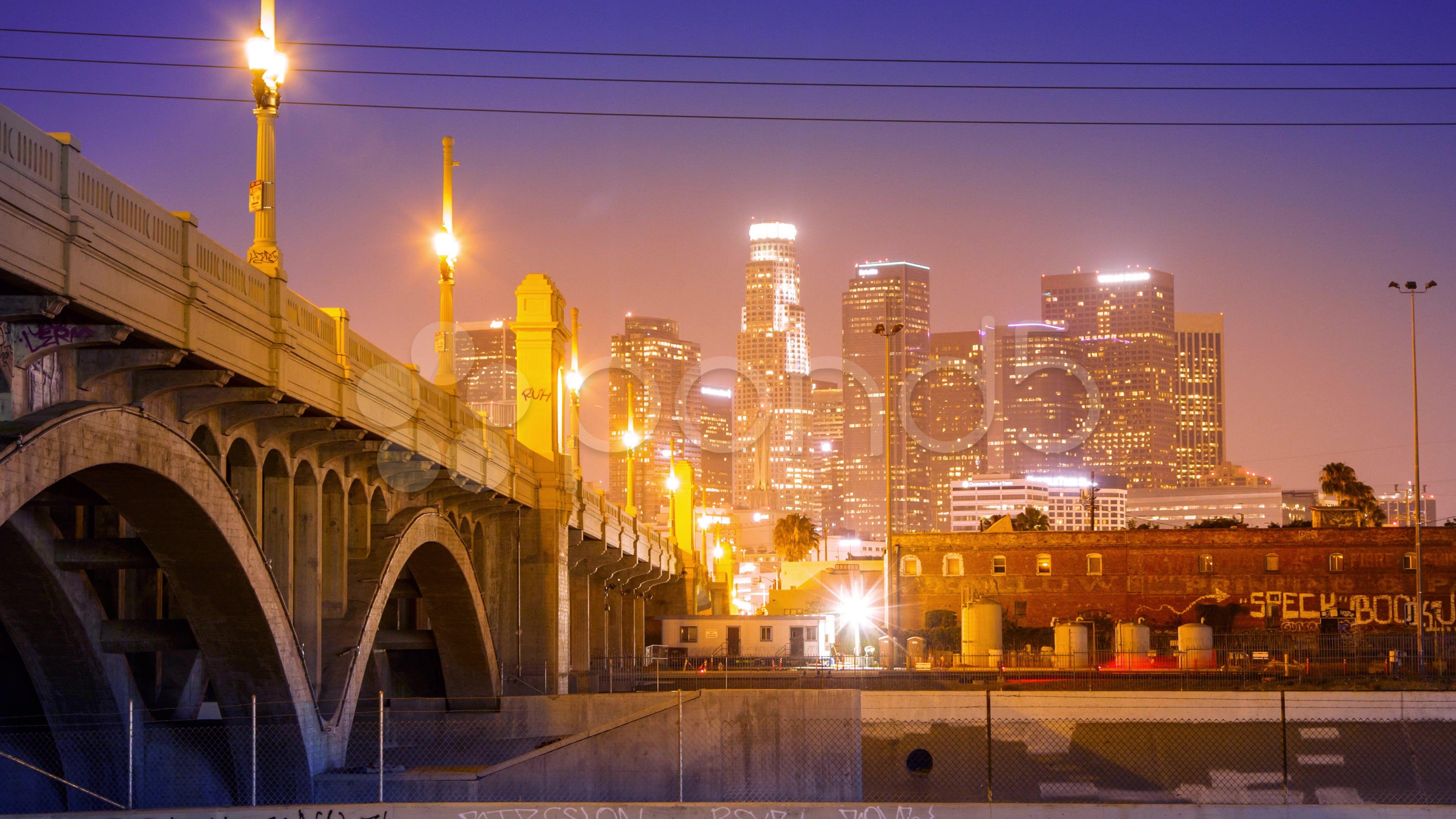 4k Los Angeles City Downtown Skyline At Night Motion Timelapse Hyperlapse Stock Footage Downtown Skyline Cit Los Angeles Skyline Los Angeles City Skyline
