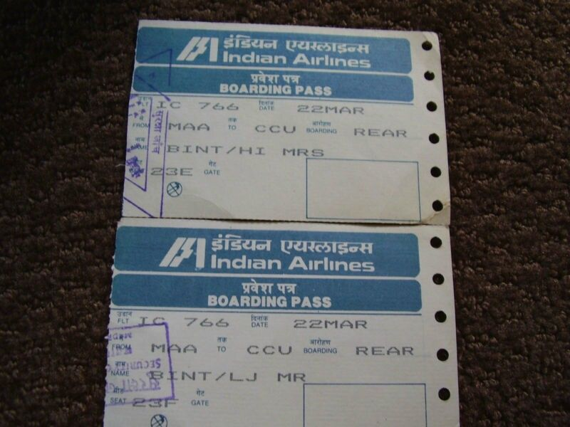 Vintage Indian Airlines Boarding Passes Commercial Aviation