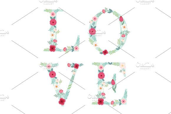 Beautiful Letters Decorated With Hand Drawn Rustic Flowers Graphics For Your Decoration By All