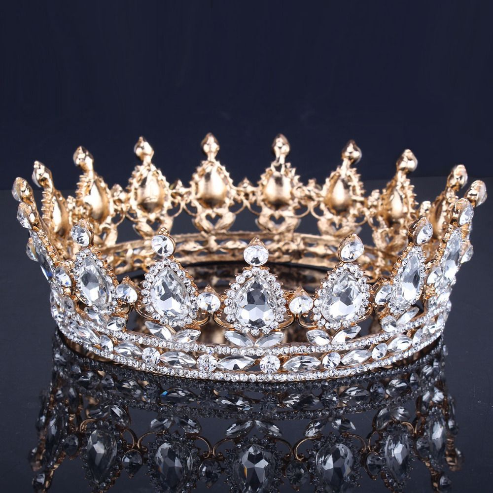 Find More Hair Jewelry Information about Luxury Vantage Gold Wedding Crown  Alloy Bridal Tiara Baroque Queen King Crown 18K gold plated rhinestone tiara  ... 0cc7f81d60c2