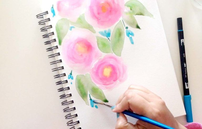 Watercolor Roses Tutorial Watercolor Rose Pen Watercolor