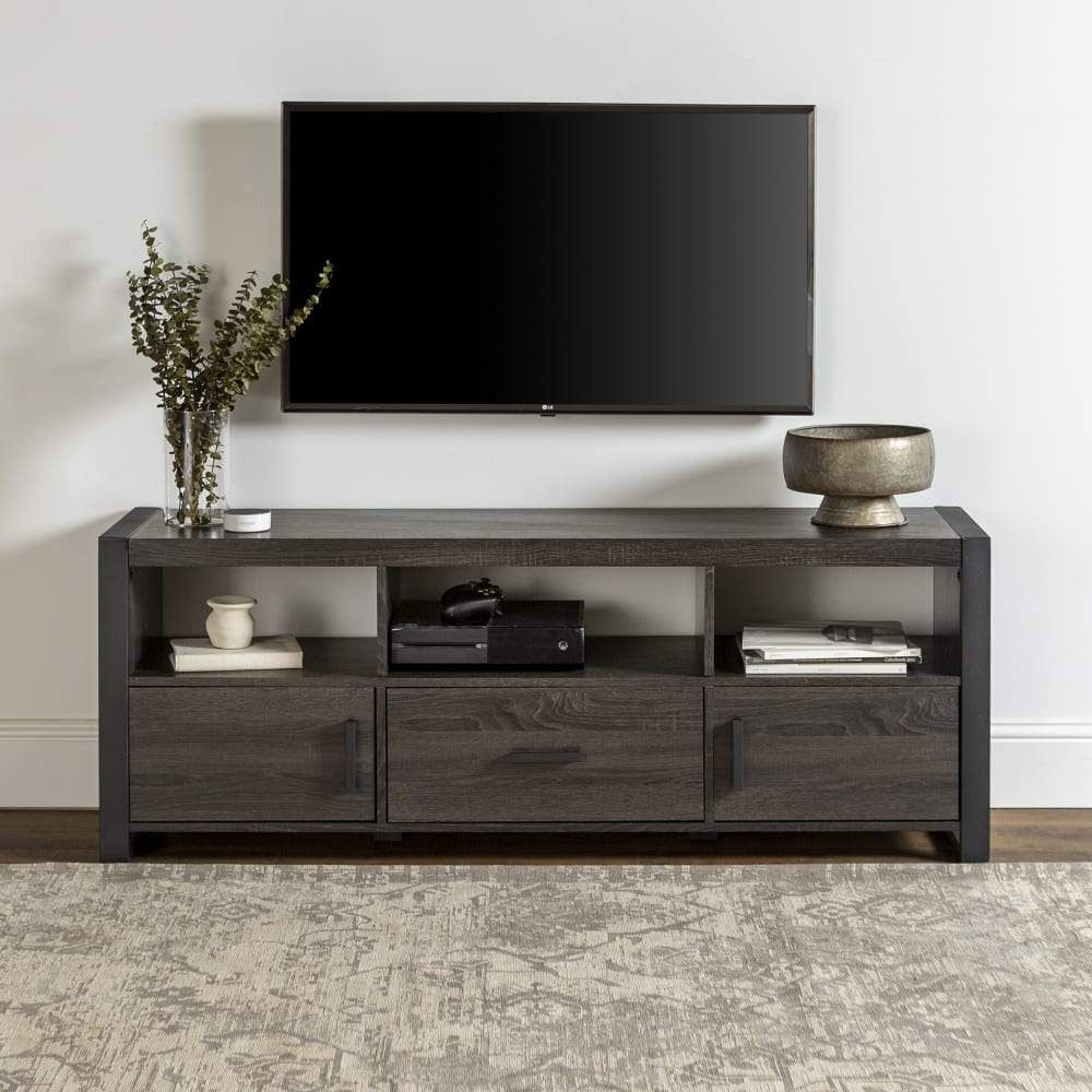 Angelo Home Industrial 60 Tv Stand Charcoal In 2021 Living Room Tv Stand Tv Stand Console Carbon Loft