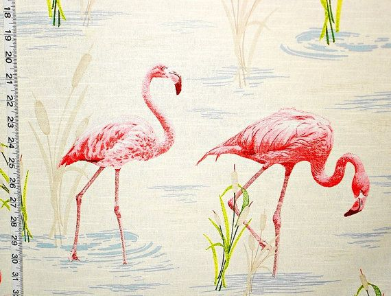 Pink Flamingo Fabric Retro Toile Tropical Home Decorating Material Cotton 1 Yard