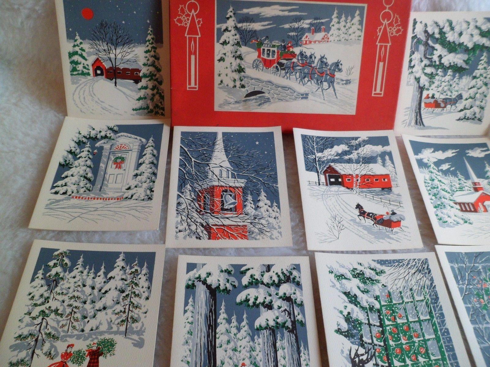 Vtg Christmas Greeting Cards Box 18 Silk Screen Different Designs Sunshine Card | eBay