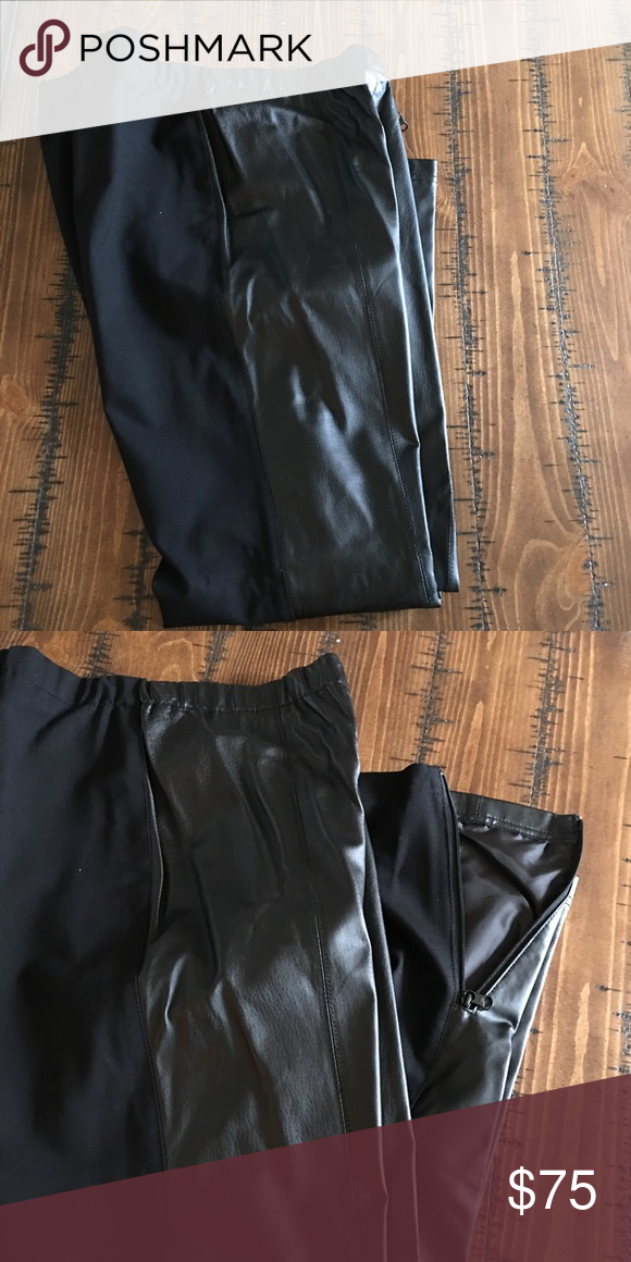 Leather Leggings Black genuine leather and ponte leggings. Worn once. Zippered ankle. Very nice pair of leggings. Jessica London Pants Leggings